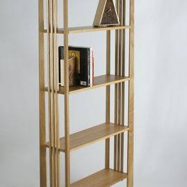 oak shelves with book