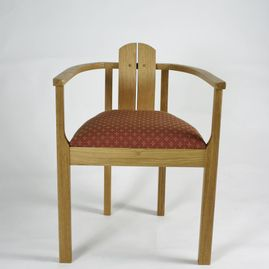 wooden chair facing forward